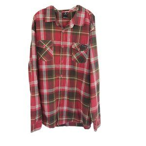 Enyce Plaid Button Up Shirt Red Brown Long Sleeve